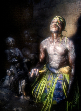 Voodoo Priest channels the power of a deity at the Voodoo healing hospital in Seko, Togo
